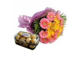 12 gerberas with 16 pc ferrero chocolates