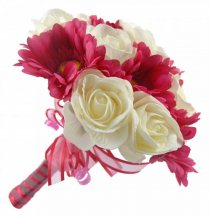 12 Pink Gerberas White roses Hand Tied