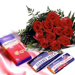 12 red roses bouquet with 3 silk chocolates