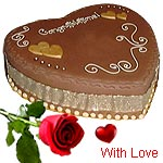 1 Kg heart Chocolate Cake and 1 Red Rose