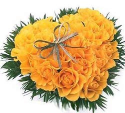 25 Yellow roses Heart