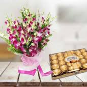24 ferrero rocher chocolate box with 10 orchids bouquet