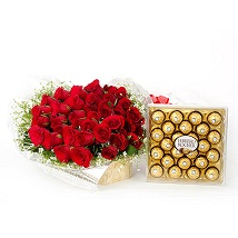 24 roses with 24 ferrero rocher chocolate