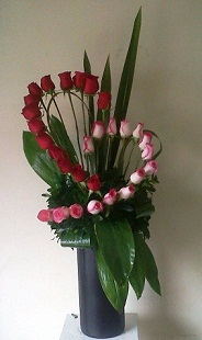 30 red and white roses spiral arrangement