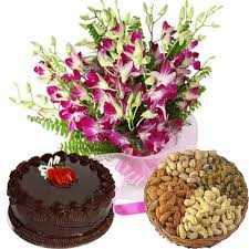 1/2 kg cake with 6 orchids bouquet with basket of 1/2 kg dry fruit
