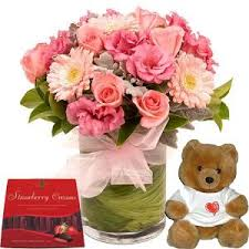 12 flowers vase with teddy and chocolate box