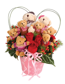 8 Teddies (6 inches each) and 3 red roses in same basket