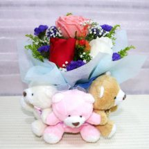 3 Teddies tied together with 3 roses (white Pink Red) in a bouquet