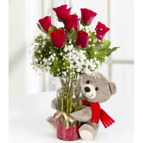6 inches Teddy 6 Red roses in vase