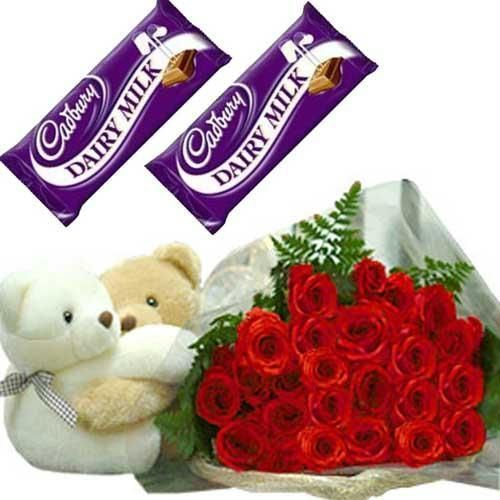 12 red roses bouquet 2 Teddies 2 dairy milk chocolate