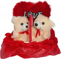 2 Teddies and Valentine heart in same basket Gift wrapped in red