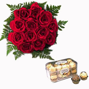 Dozen Roses and 16 Ferrero Rocher Chocolates
