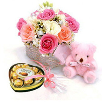 12 Pink roses vase Pink teddy Heart shaped chocolates